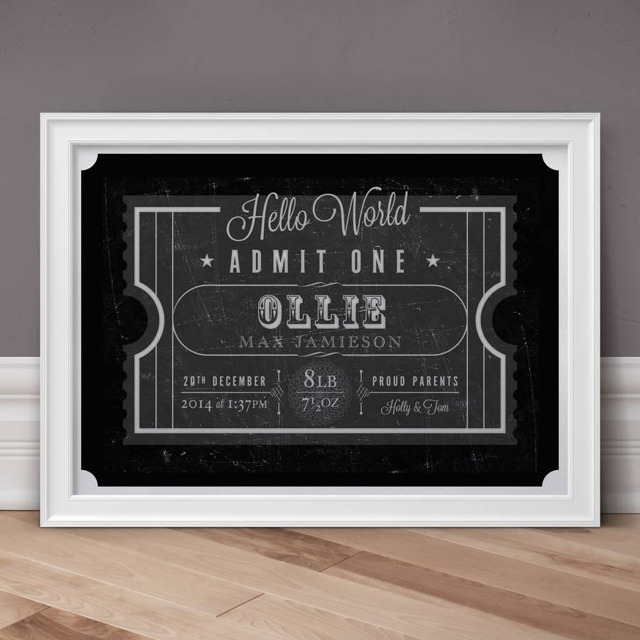 Hello World Personalised Birth Print Blackboard