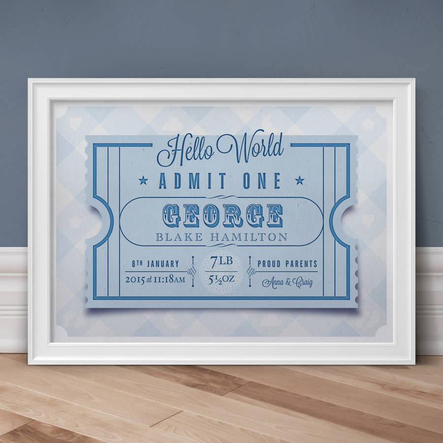 Hello World Personalised Birth Print