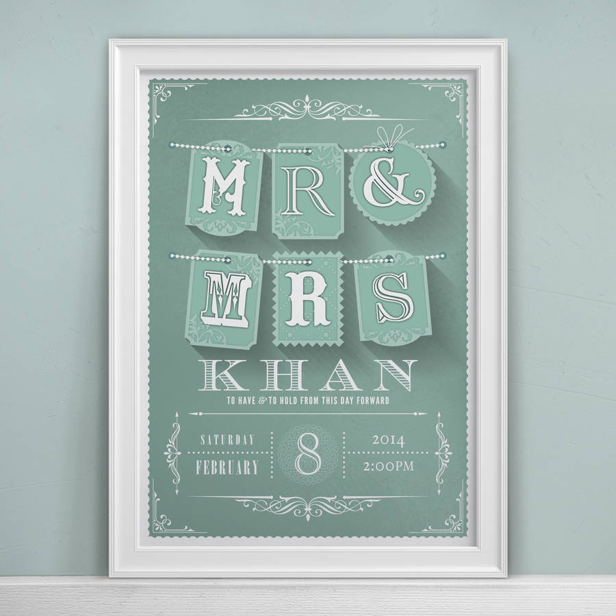 Mr & Mrs Personalised Wedding Print