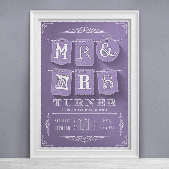 Mr & Mrs Personalised Wedding Print