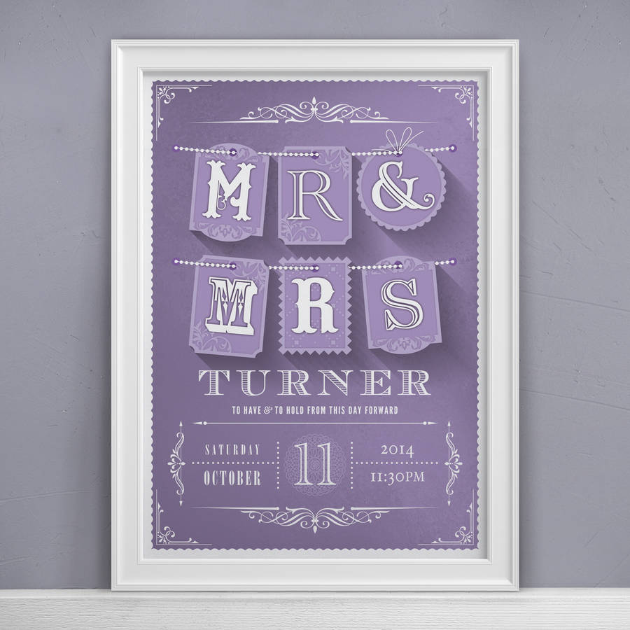 Mr and mrs personalised wedding print a perfect wedding gift mr mrs personalised wedding print negle