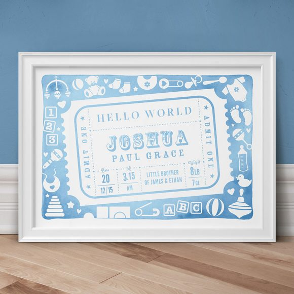 Admit One Personalised New Baby Print - Duck Egg