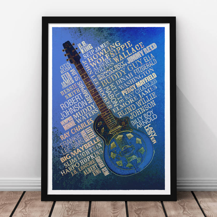Blues Legends Print - Navy