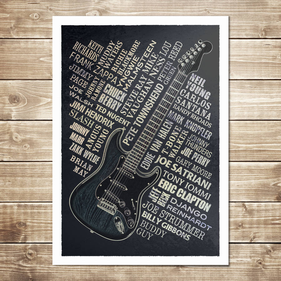 Guitar Legends Print - Black