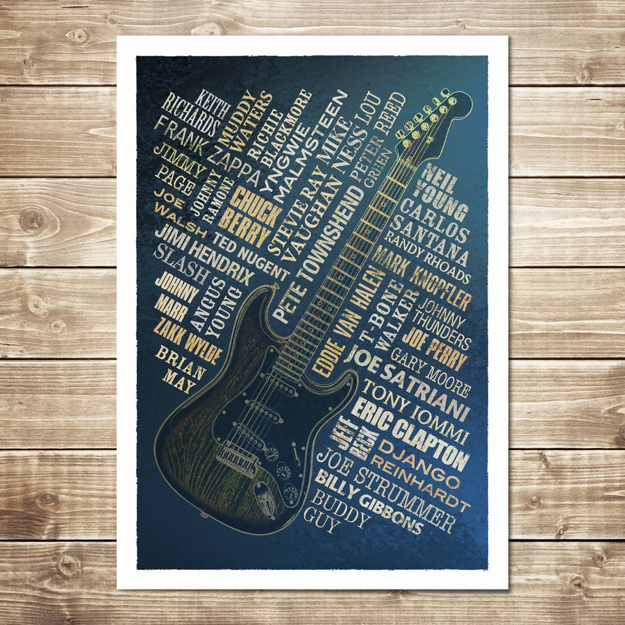 Guitar Legends Print - Navy