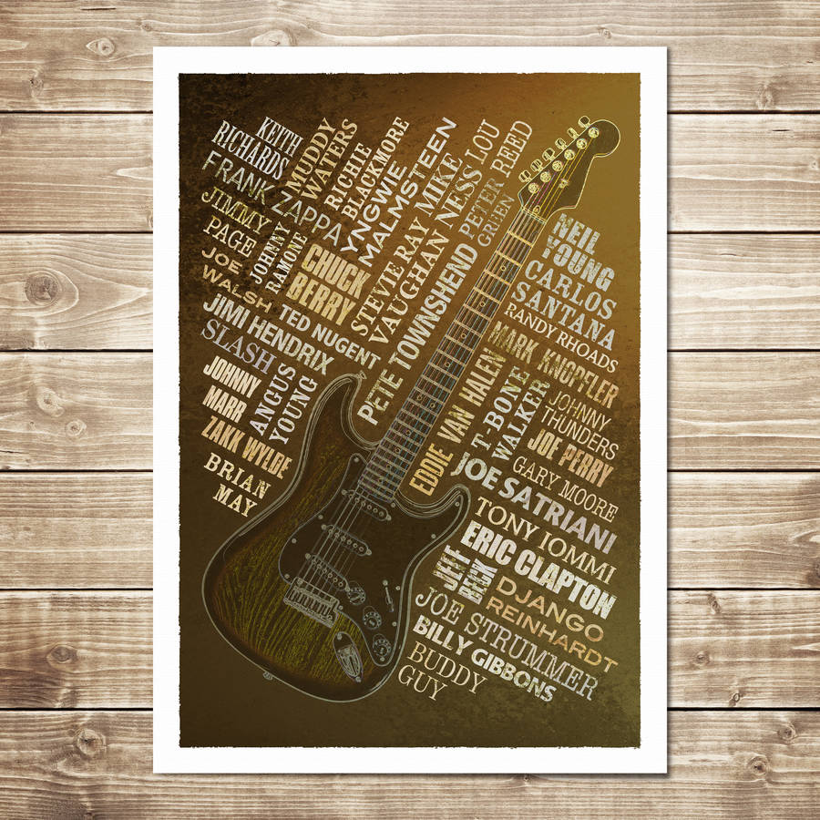 Guitar Legends Print - Rust