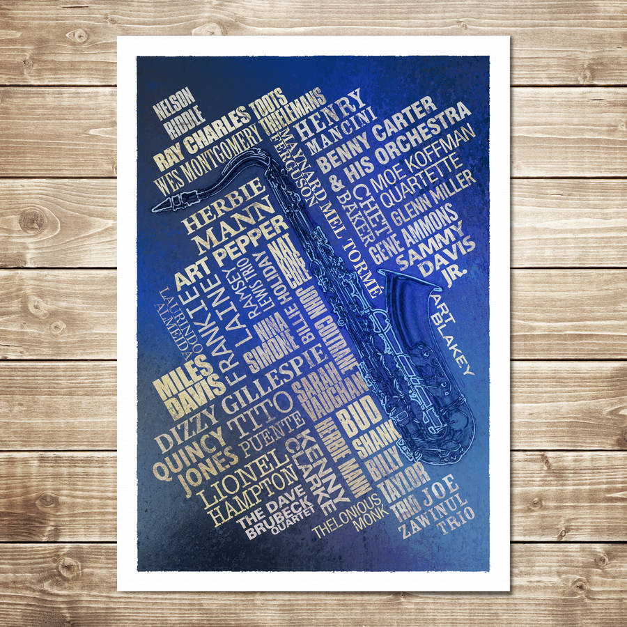 Jazz Legends Print - Navy