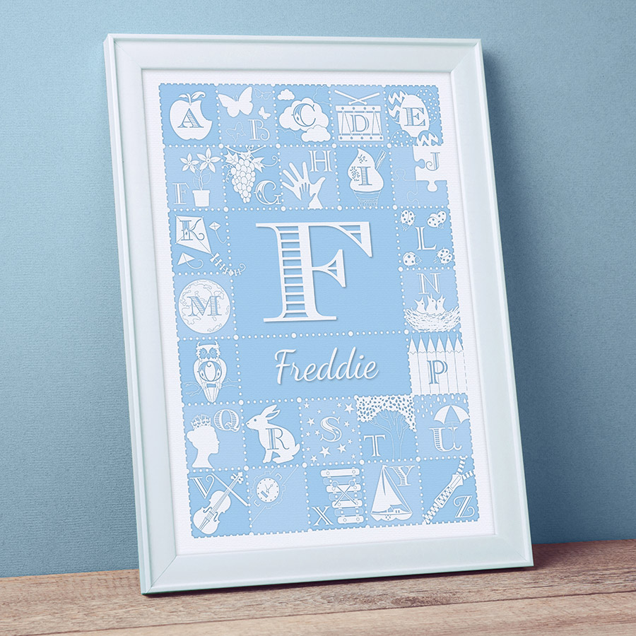 Personalised Alphabet ABC Print - Duck Egg