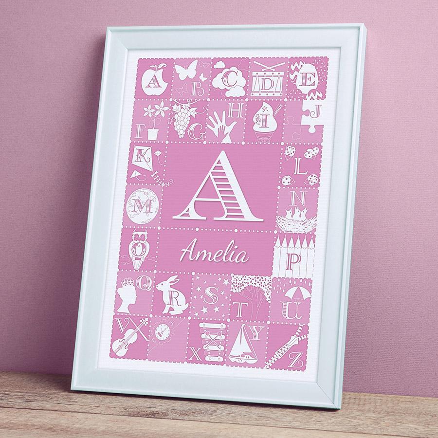 Personalised Alphabet ABC Print - Pink