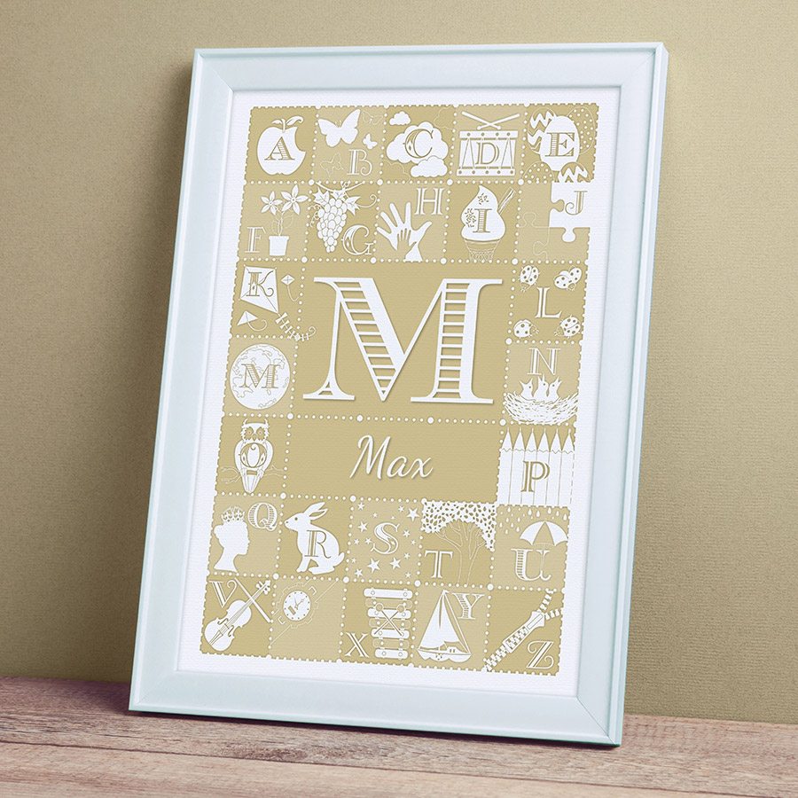 Personalised Alphabet ABC Print - Stone