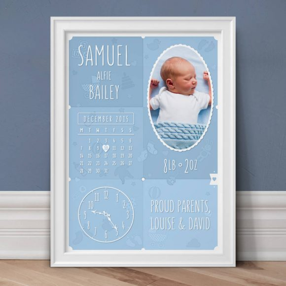 Personalised New Baby Photo Print - Duck Egg