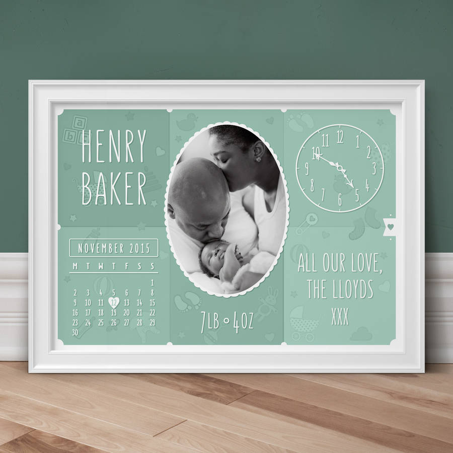Personalised New Baby Photo Print - Sage