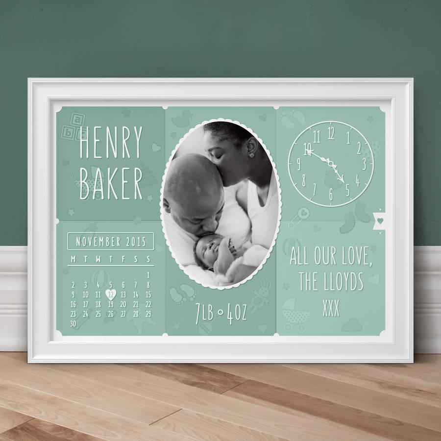 Personalised New Baby Photo Print - Sage
