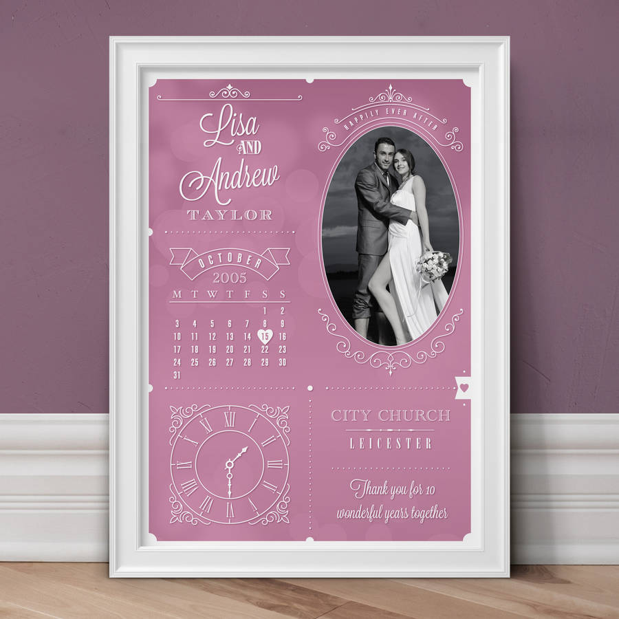 Personalised Wedding And Anniversary Photo Print - Pink