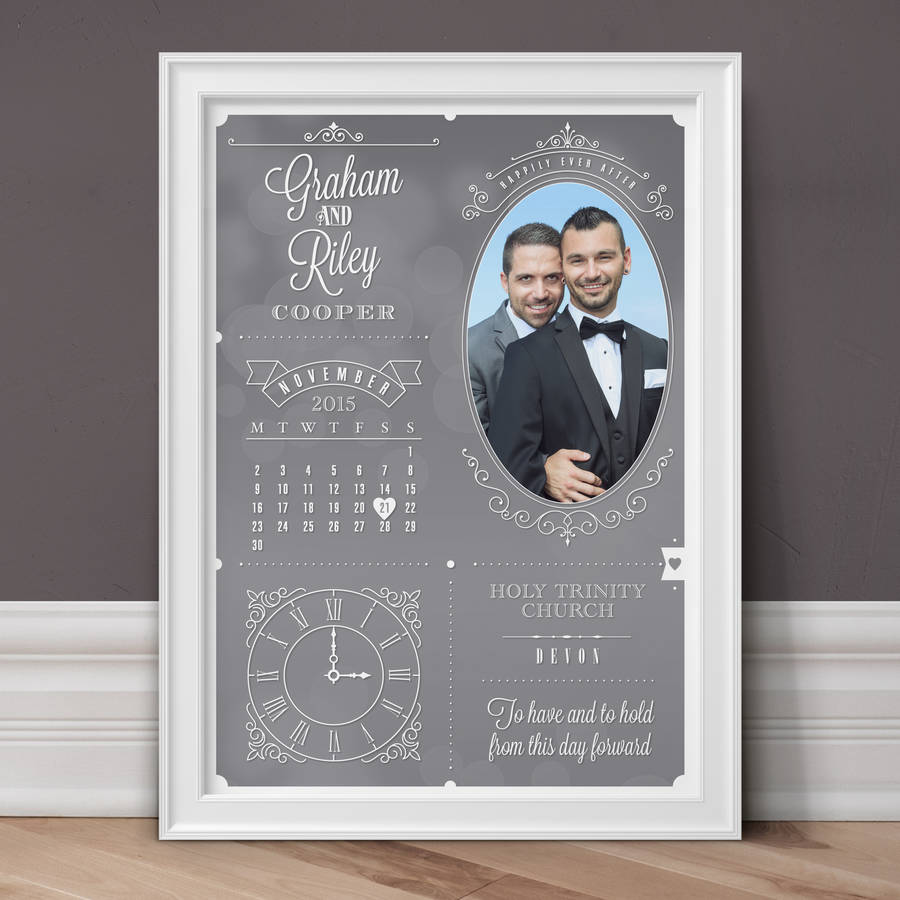 Personalised Wedding And Anniversary Photo Print - Slate