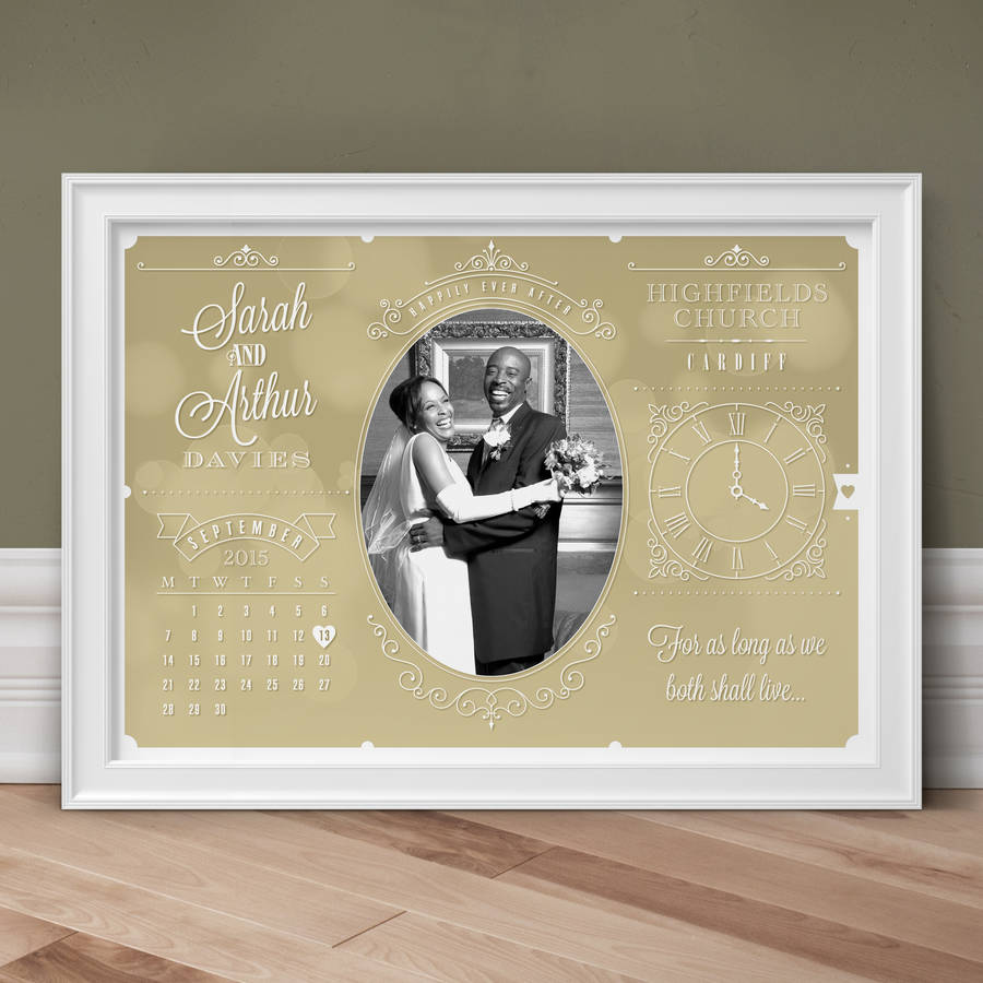 Personalised Wedding And Anniversary Photo Print - Stone