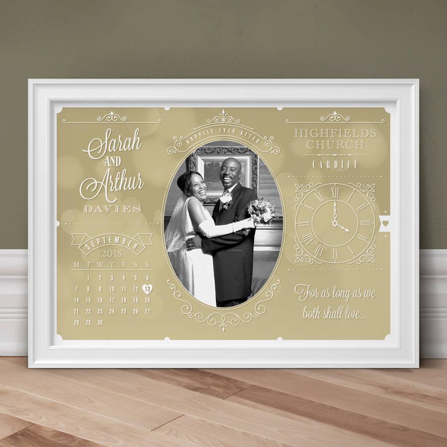 Personalised Wedding And Anniversary Photo Print - Stone
