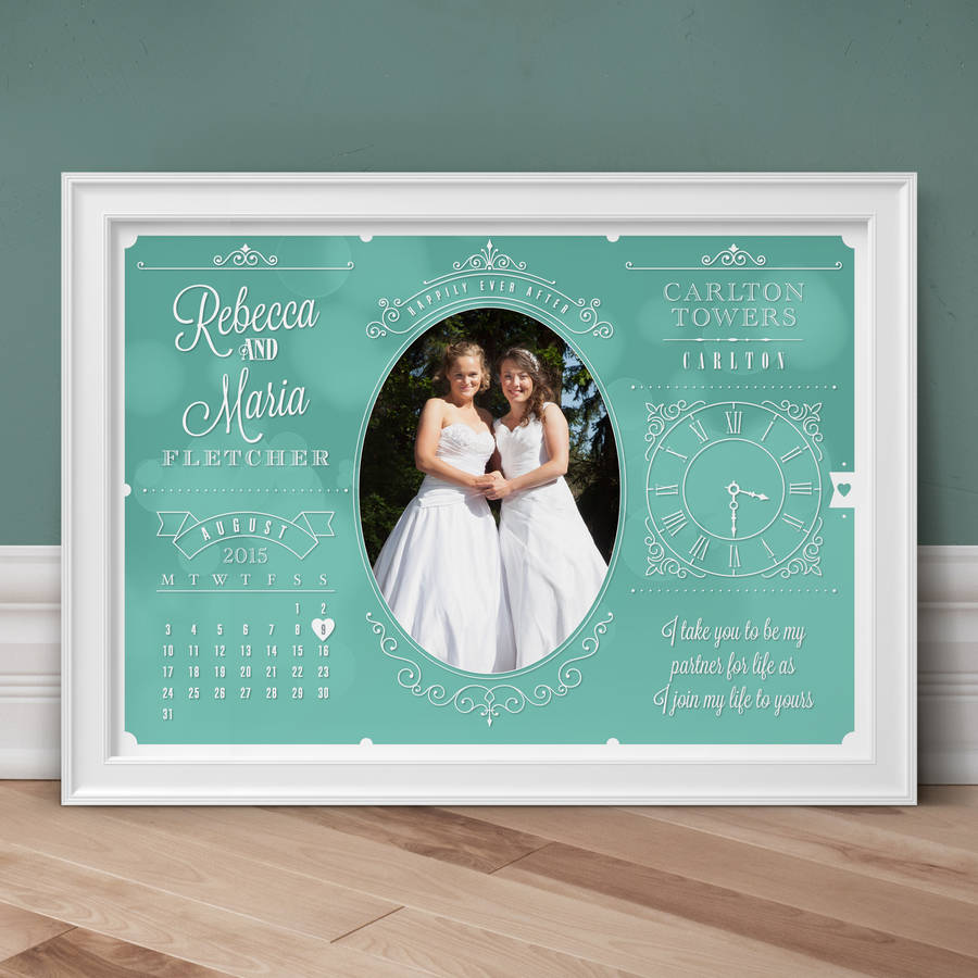 Personalised Wedding And Anniversary Photo Print - Teal