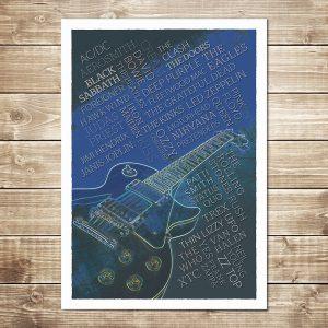 Rock Legends Print - Navy