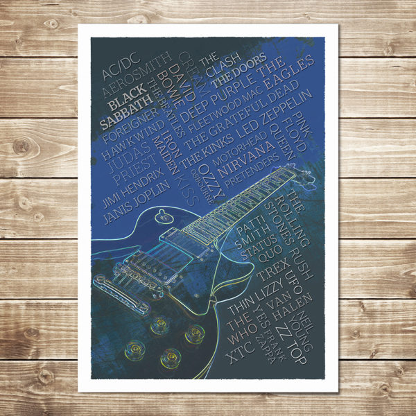 Rock Legends Print - Navy