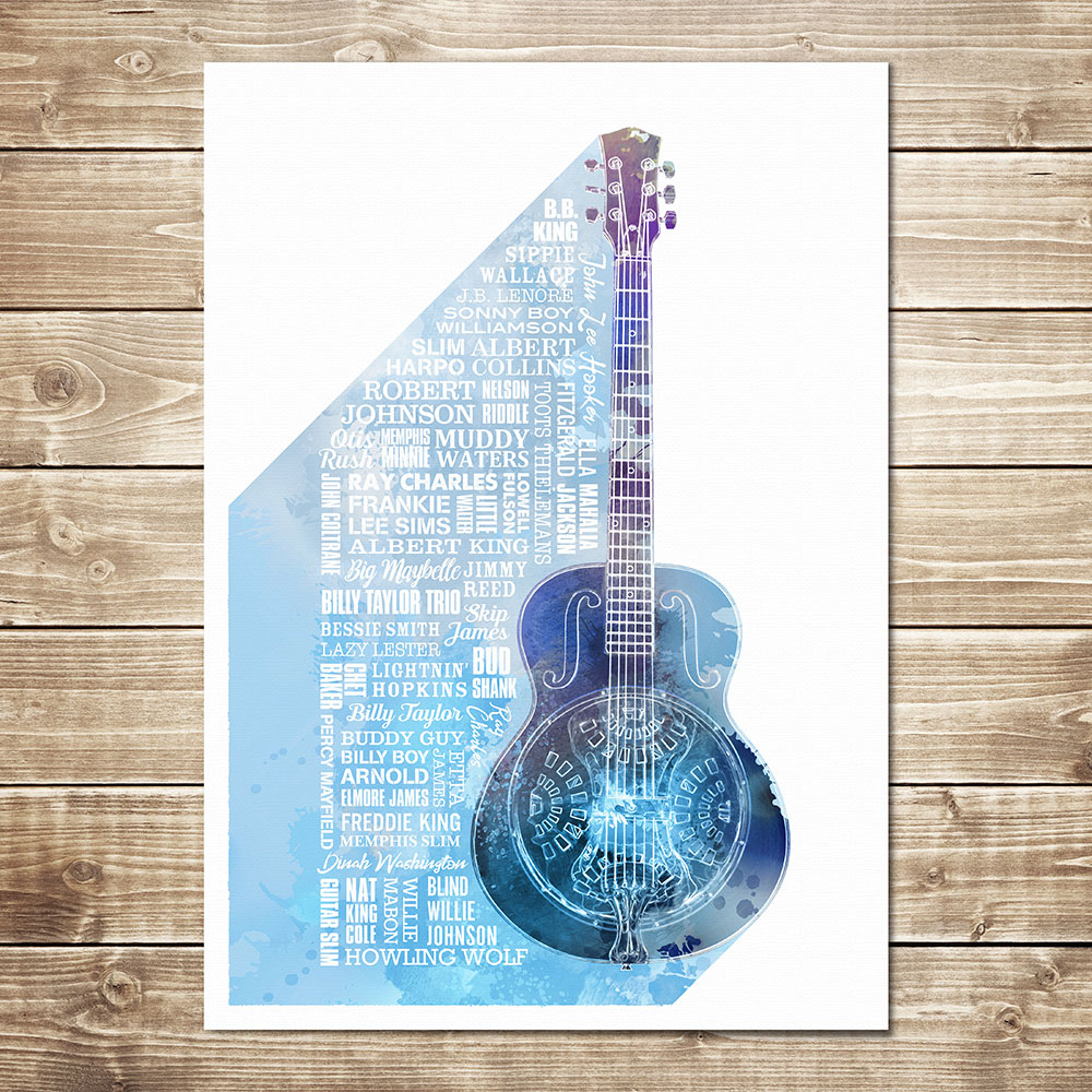 Heroes of Blues Print Blue