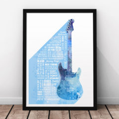 Heroes of Guitar Print Blue