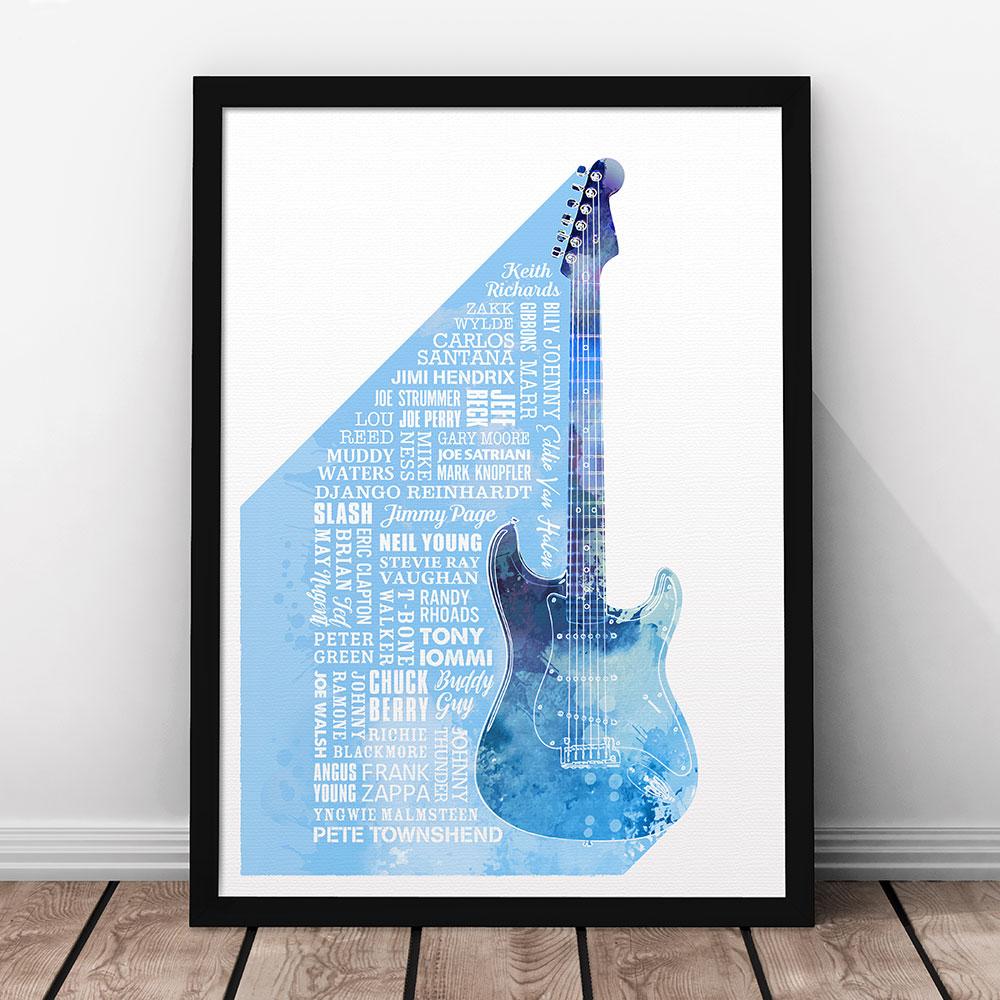Heroes of Guitar Print Blue
