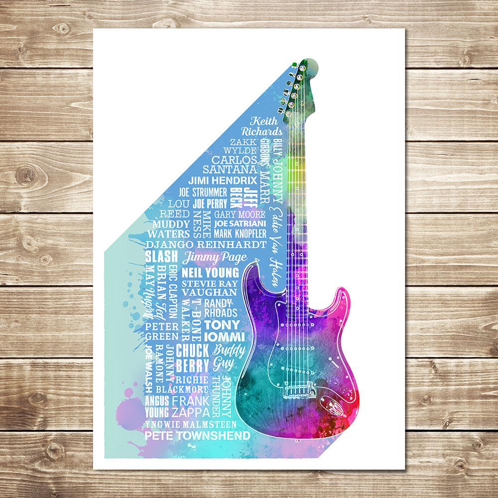 Heroes of Guitar Print Multicoloured