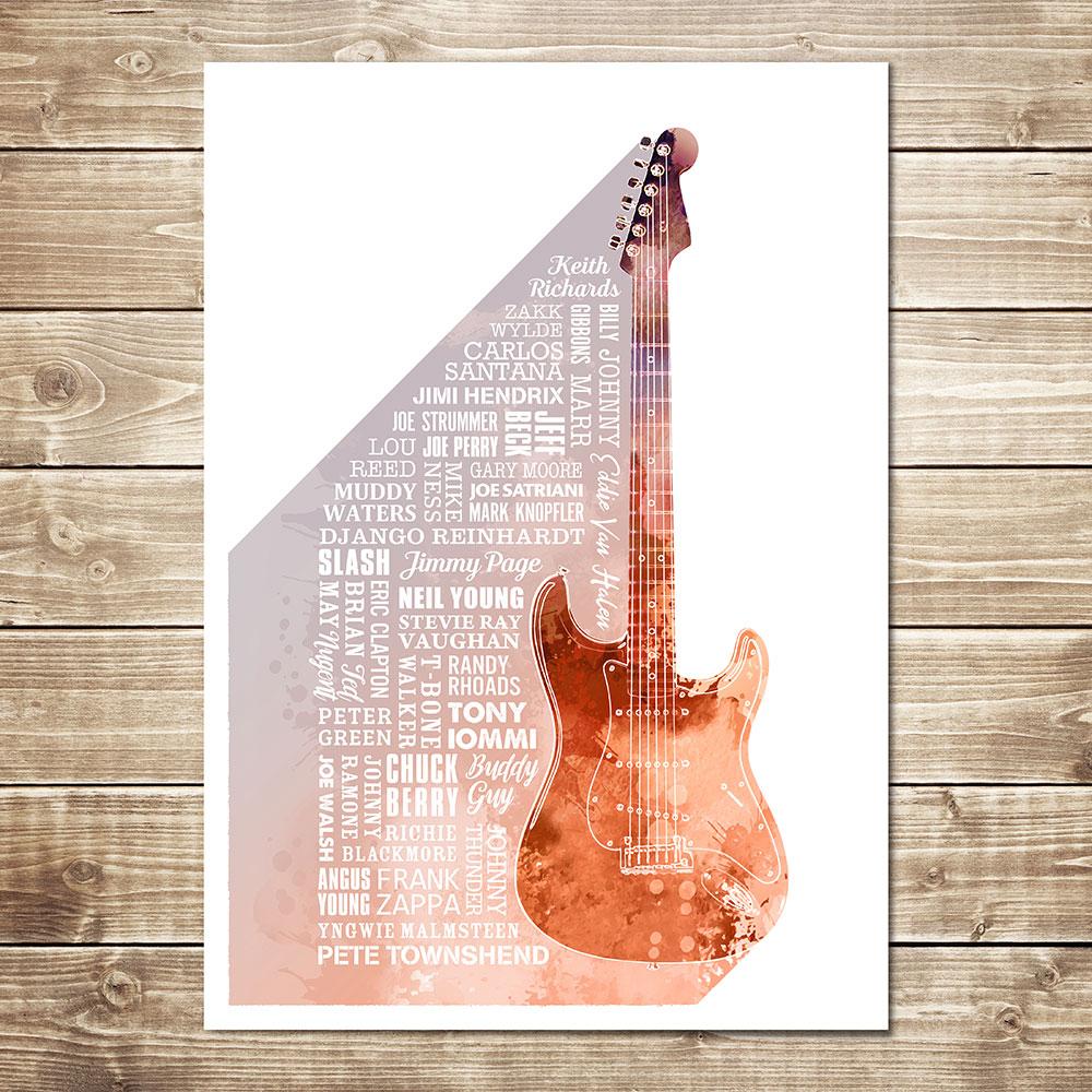 Heroes of Guitar Print Rust